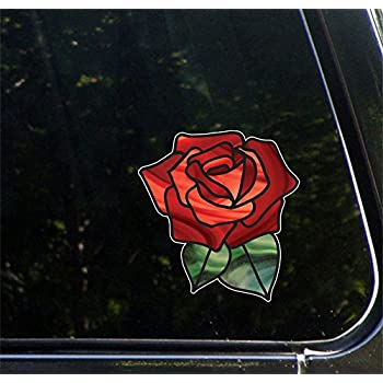 Rose stained glass d1 vinyl decal for car truck atv outdoor use 2016 yadda yadda design co 5 5w x 5 75hred