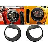 [Upgrade Clip-in Version] Opar Black Angry Bird Headlight Cover Bezels for 07-17 Jeep Wrangler & Wrangler Unlimited JK - Pair