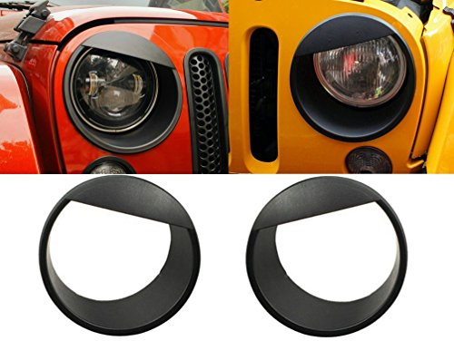 Opar Black Angry Bird Headlight Cover Clip-in Bezels for 2007-2018 Jeep Wrangler & Wrangler Unlimited JK - Pair