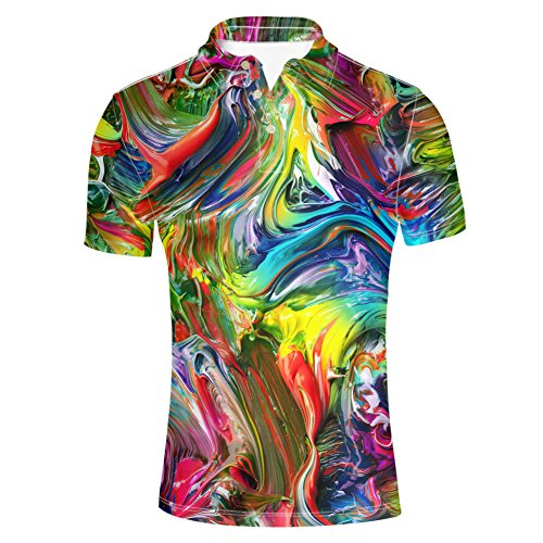 HUGS IDEA Men's Jersey Polos Shirts Psychedelic Colors T-Shirt Summer Button Down Short Sleeve ()