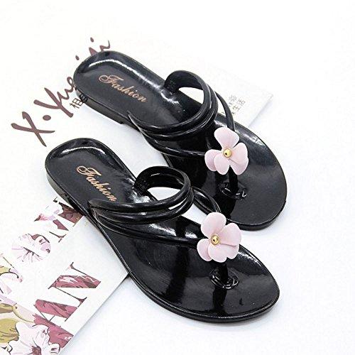 TAOFFEN Mujer Casual Pantufla Plano Verano Pantuflas Sandalias con Flor 592 Negro