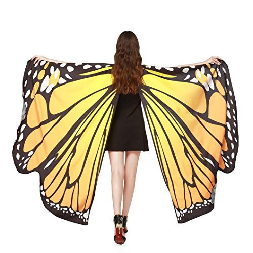 ASfairy Butterfly Wings Shawl Scarves, Women Cape Scarf Fairy Poncho Wrap Pixie Poncho Halloween Costume Accessory (Orange) -