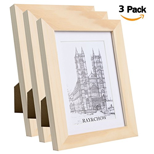 Ray & Chow 5x7 inch Natural Wood Colour Picture Photo Frames - Solid Wood - Glass Window- with Picture Mat for 4x6 inch Photo - Frame Width 2cm- 3 Pack ()