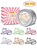 Cat Paper Clips, 100 Pcs Cat Gifts for Cat Lovers, Cat Office Supplies for Teacher Office Gifts Under 10 Dollars, Cat Lover Gifts for Women