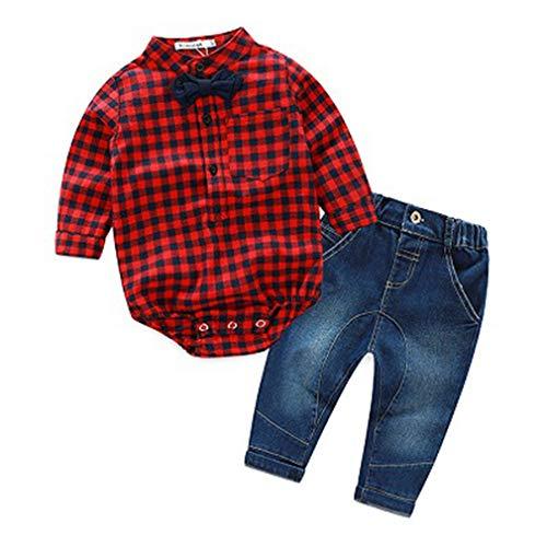 (Krastal Baby Boy Clothes Long Sleeve Romper +Jean Gentleman Autumn Romper Festival Baby Bodysuits)