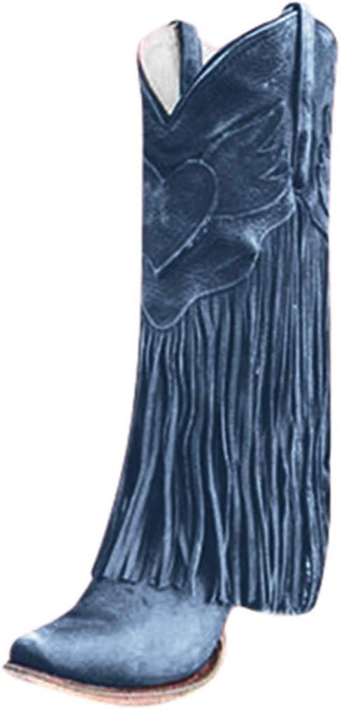 ღLILICATღ Botines de Tacón Alto con Flecos Borlas para Mujer Botas Altas Las Rodillas Alto Slip-on Zapatos de Invierno Otoño: Amazon.es: Jardín