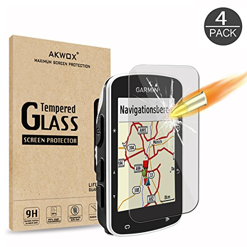 (Pack of 4) Tempered Glass Screen Protector for Garmin Edge 520, AKWOX 0.3mm 9H Hard Scratch-resistant Protector for Garmin Edge 520 free shipping
