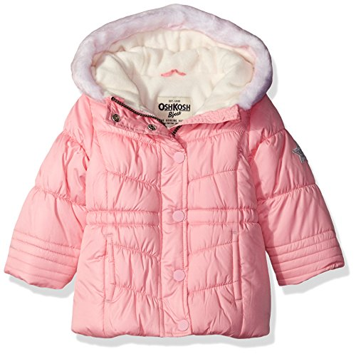 Osh Kosh Baby Girls' Infant Classic Heavyweight Parka with Faux Fur Hood, Light Pink, 18M