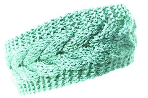 KMystic Plain Braided Winter Knit Headband (Mint)