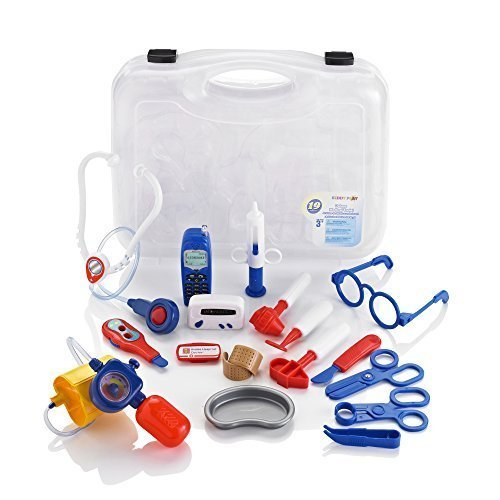 Constructive Playthings 12'' L. x 13'' W. Doctor's Case with 17 Piece Set of Authentic Plastic Doctor's Gear Including Battery Operated Phone for Ages 3 Years and Up by Constructive Playthings (Image #1)
