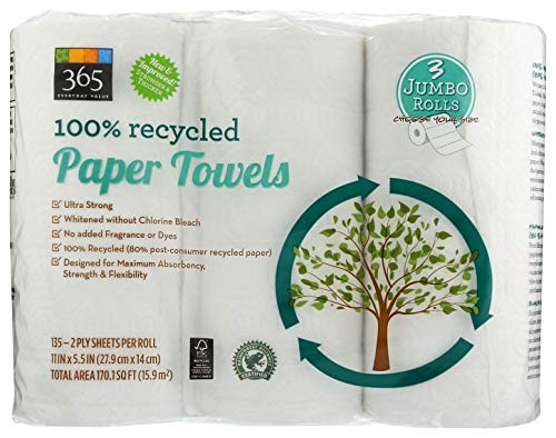 365 By WFM, Paper Towels 100% Recycled Jumbo Roll 135 Sheet, 3 Count