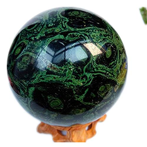 Jasper Sphere Polished Natural Green Black Orbicular Orbs Crocodile Eye Crystal Mineral Fossil Ball - Madagascar + Stand ()