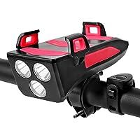 Honelife 4 EM 1 Multifuncional Luz da bicicleta Luz da buzina da bicicleta com suporte para celular 250 Lumens Bicicleta…