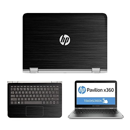 Black Brushed Aluminum skin decal wrap skin Case for HP Pavilion x360 13 13-s020nr 13-s067nr 13-s099nr 13-s120nr 13-s199nr 13.3 Touch Laptop