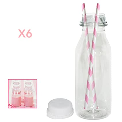 Set de 250 ml Mini Botellas de plástico de leche, transparente con tapa de Anti Tamper