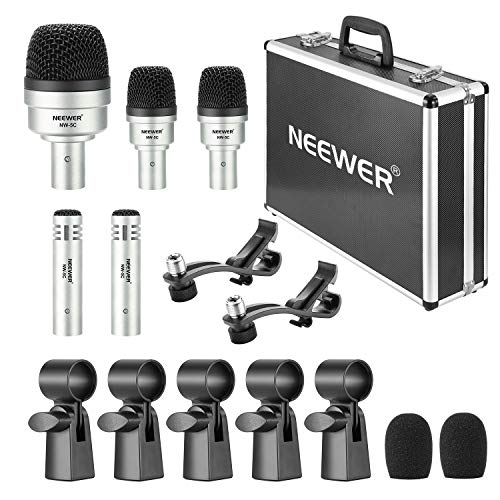 Neewer 5 Piece Dynamic Drum Microphone Kit - Kick Bass, Tom/Snare and Cymbals Microphone Set for Drums, Vocal and Other Instrument, Thread Clip, Inserts, Mics Holder and Hard Carry Case Included
