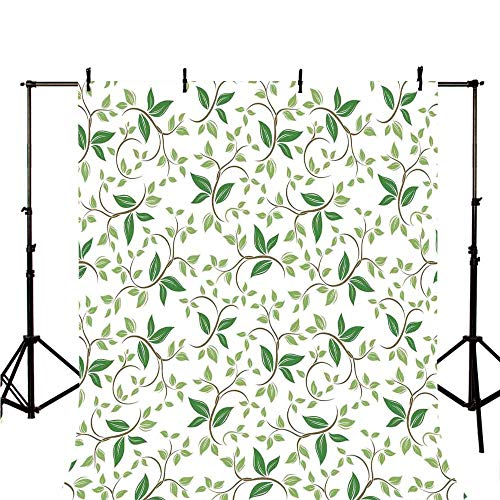 Leaves Stylish Backdrop,Ivy Patterns with Tiny Fancy Green Leaves Branches Creme Contemporary Illustration for Photography,39.3