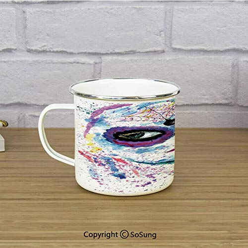 Girls Enamel Camping Mug Travel Cup,Grunge Halloween Lady with Sugar Skull Make Up Creepy Dead Face Gothic Woman Artsy,11 oz Practical Cup for Kitchen, Campfire, Home, TravelBlue Purple]()