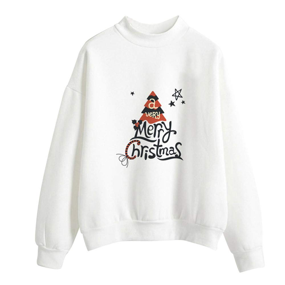 COTTONI-Tops Pullover Sweaters for Women,Women's Activewear,Christmas Print Ladies Blouse Pullover,White,L
