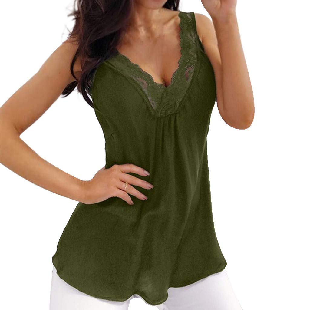 Womens Summer Tank Top,Soild Lace Floral Patchwork Deep V Camis Vest Sleeveless Halter T Shirt Blouse Army Green