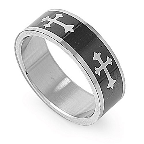 Black Tone Multi Cross 8mm Mens Fashion Band Stainless Steel Promise Ring Size (Fashion Trendy Cross)