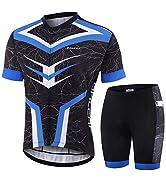 BALEAF Men's Cycling Jersey Set Bicycle Short Sleeve Mountain Bike Shirts Clothing Outfit MTB Sum...