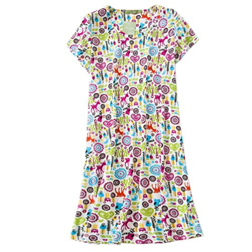 - ENJOYNIGHT Women's Sleepwear Cotton Sleep Tee Short Sleeves Print Sleepshirt (Large, Flower)