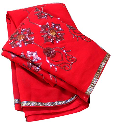 Drape Georgette - Bridal Dress Indian Women Sari Georgette Recycled Fabric Embroidered Vintage Used Curtain Drape 5YD Fabric Saree Dressmaking Floral Dress