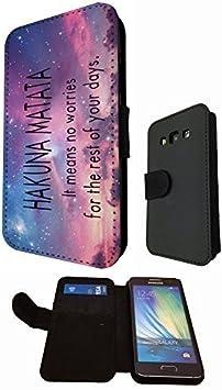 Funda Abatible Tipo Cartera de Cuero Sintético a la Moda con Diseño Funky de Significado de Hakuna Matata sobre Fondo Espacial para Samsung Galaxy A3: Amazon.es: Electrónica