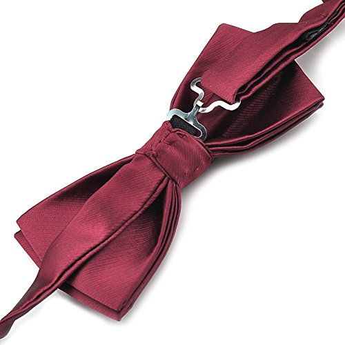 amp; Various Set Colors Solid PenSee Hanky 1 Tie Burgundy Tied Card Mens Silk Pre Bow qvxxA0P7p