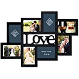 "Adeco 8-Opening Black Wood""Love"" Wall Hanging Photo Frame, 4 by 6"""