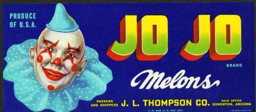 Jo Jo Melons J L Thompson Somerton AZ crate label 40s