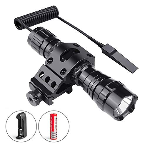 Super Bright Tactical Led Flashlight, One Mode Zoomble 1O00 Lumen Light with Picatinny Rail Mount for Hunting Shooting, Remote Pressure Switch, Rechargeable battery and charger included