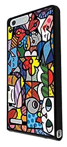 307 - Stain Glass Shabby Chic Multi Art Cat Face Design For Huawei Ascend P8 Fashion Trend CASE Back COVER Plastic&Thin Metal - Black