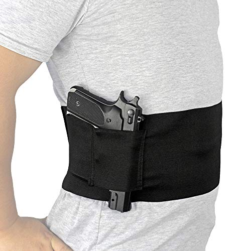 Depring Belly Band Holster for Concealed Carry Elastic Abdominal Slim Wrap Concealment Handgun Holster with 2 Magazine Pouches for Right and Left Hand Draw ()