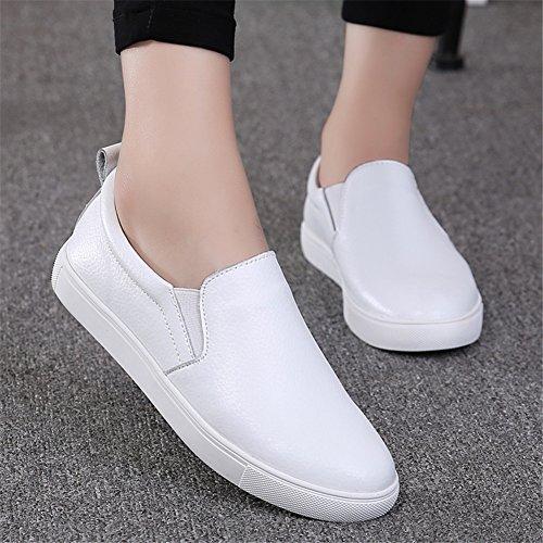 HKR Damen Slip On Fashion Sneakers Leopardenmuster Wildleder Loafers Komfort Wohnungen Schuhe Weiß