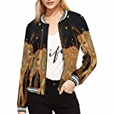 #7: InterestPrint Womens Casual Bomber Jackets Elephant Walking In The Night (XS-2XL)