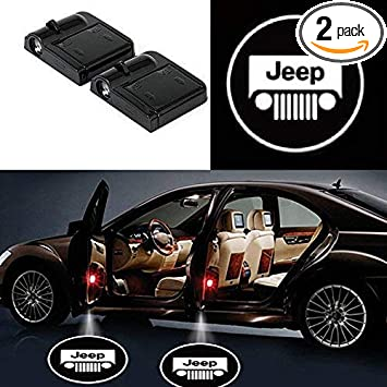PATRICON 2-Pack Wireless Car Door Led Welcome Light Projector for Jeep Accessory No Drill Type Logo Light Ghost Shadow Light Lamp Size 2