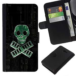 NEECELL GIFT forCITY // Billetera de cuero Caso Cubierta de protección Carcasa / Leather Wallet Case for Sony Xperia M2 // PC RAM pirata - Geek Tech