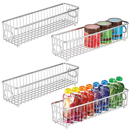 mDesign Metal Kitchen Pantry Food Storage Organizer Bin Basket - Modern Farmhouse Decor Wire Grid Design - Organization for Cabinets, Shelves, Countertops - X Long Container, 4 Pack - Chrome