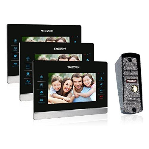 TMEZON 7 Inch Ring Video Doorbell Intercom Door Phone Monitor HD 1200TVL Night Vision Camera 1V3 Wide Angle IP66 Picture/Video Recording -  MZ-VDP-718EM/3-SN80/1-A1