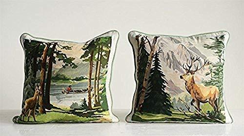 Retreat Deer Great Outdoors Set of 2 Cotton Pillows 16