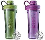 2 Pack Blender Bottle Radian 32 oz. Tritan Shaker Bottle with Loop Top (Moss Green : Plum)