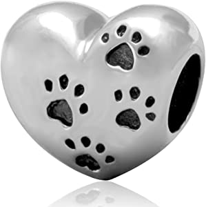 Pet Paw Bead Charm 925 Sterling Silver My Sweet Pet Heart Beads fit for DIY Charms Bracelets