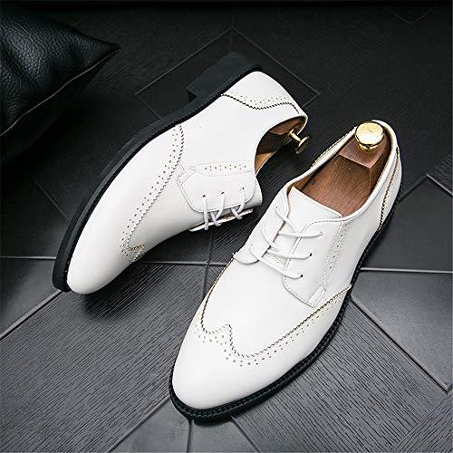Moda Respirables de de Antideslizantes PU Oxford de de la la la Manera Ocasional Blanco Hombres de Zapatos los de Cuero Brogue aSq5wA5