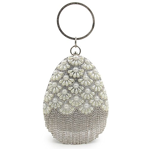 Tassel Women Rhinestones Purse Clutch Silver Flada Evening Silver Bag Shape Drops Handbag Beaded Party T8ddqwf
