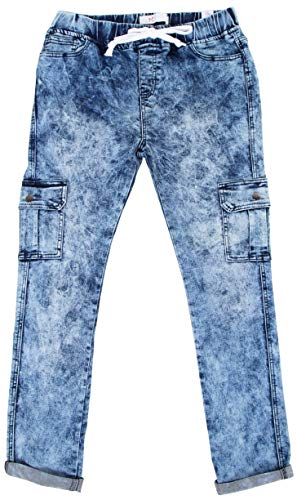 Cargo Womens Jeans - Womens Cargo Denim Jeans Joggers Plus Size Stretchy Distressed Wash Cuffed Pants (Plus Size 2X, Marble Wash)