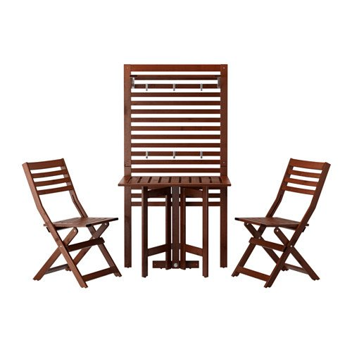 Ikea Wall panel, gateleg table & 2chairs, outdoor, brown stained 18202.262611.102 (Bench With Wall Outdoor Panel)