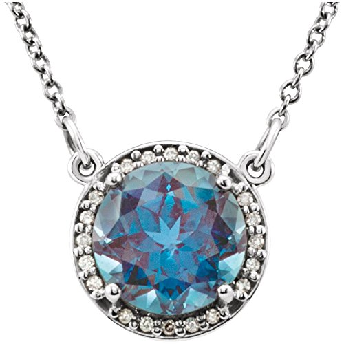 "14k White Gold Gem Quality Chatham Alexandrite & Diamond Halo Pendant 16"" Necklace"