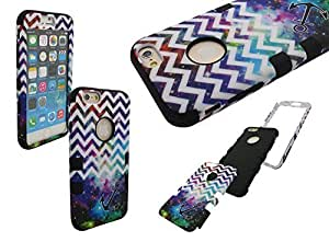 IPHONE 6 SHOCKPROOF CASE, Mobile King USA iPhone 6 (4.7) INCH SCREEN High Impact Rugged Hybrid Case Silicone & PC with NEBULA GALAXY & WHITE CHEVRON & ANCHOR PATTERN (BLACK)